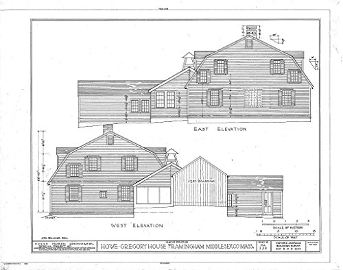 Historic Pictoric Blueprint Diagram HABS Mass,9-FRAM,2- (Sheet 6 of 8) - Howe-Gregory House, Wayside Inn Road, Framingham, Middlesex County, MA 14in x 11in
