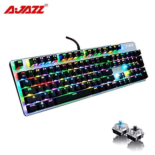 (Ajazz AK52 RGB Mechanical Gaming Keyboard with 104 Keys/Backlit USB Wired Mechanical Keyboard/Black Switch Black)