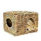 JanYoo Bunny Rabbit Chew Toys Hut Hideaway Bed Accessories Guinea Pig Grass Supplies
