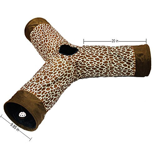lovely Cat Tunnel 3 W Leopard Crinkle Kitten Play Toy, Collapsible for Small Medium and Large Cats