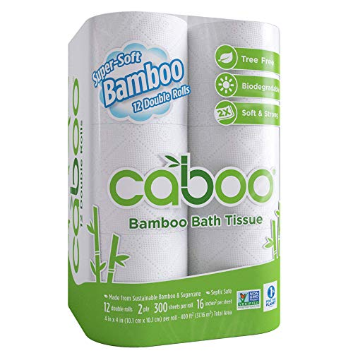 Caboo Tree-Free Bamboo Toilet Paper, Septic Safe Biodegradable Bath Tissue, Eco Friendly Soft 2 Ply Sheets, 300 Sheets Per Roll, 12 Double - Toilet Tree Paper
