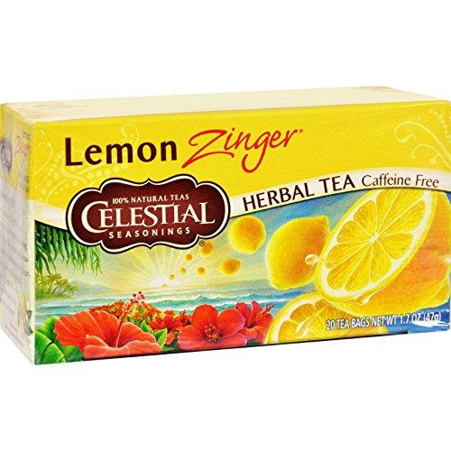 Celestial Seasonings Lemon Tea - Celestial Seasonings 100% Natural Lemon Zinger Herbal Tea 20 ct (Pack of 6)