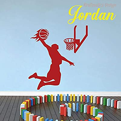 Basketball Flames Custom Name Sports Series Nursery Wall Decal Vinyl Sticker for Home Decor. (Medium W 30