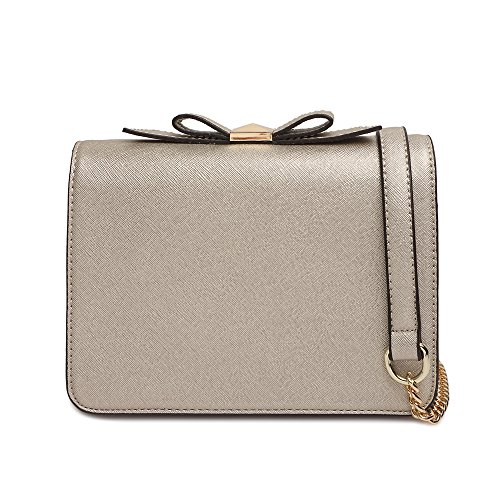 Small Crossbody Purse Wallet Pu Leather Bags with Bowknot Chain Strap for Women Shoulder Handbags (Gold)