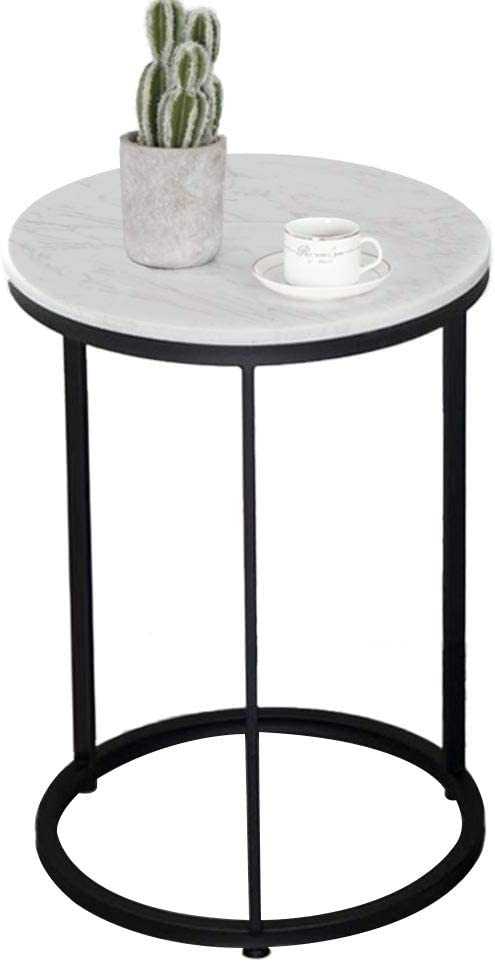 Amazon Com Small Round Table Round Marble Coffee Table Living Room Side Table Sofa Table Bedside Table Black Home Kitchen