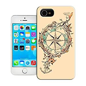 Unique Phone Case Feature artwork compass anchor bird plants illustration art design Hard Cover for iPhone 4/4s cases-buythecase