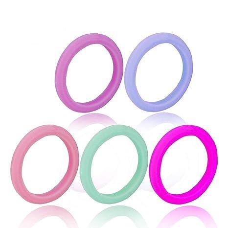 Aolvo Juego de anillos de boda de silicona para mujer, 3 mm, diseño de