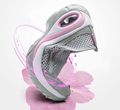 Gray Zapatillas Zapatillas Huaihsu mujer Elástico para Transpirabilidad montañismo Antideslizante de Usable Senderismo deportivas Ocio OYOSq