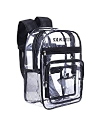 SMAGREHO Large Clear Backpack PVC Transparent School Bag Security Backpack for Students Stadium Approved