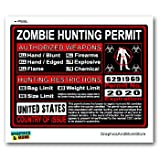 United States US Zombie Hunting License Permit Red - Biohazard Response Team - Window Bumper Locker Sticker