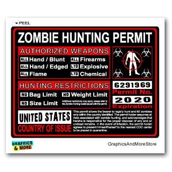 United States US Zombie Hunting License Permit Red - Biohazard Response Team - Window Bumper Locker Sticker