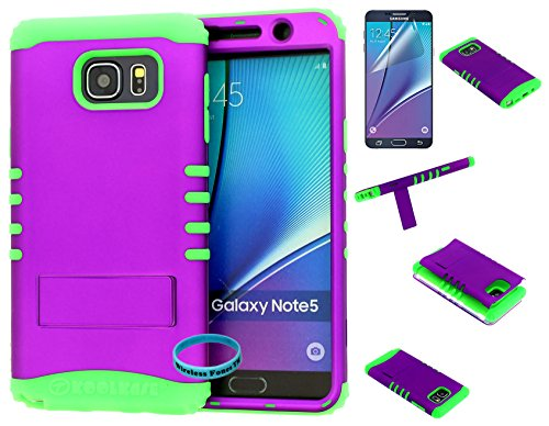 Galaxy Note 5 Case, Wireless Fones TM Hybrid Kickstand Shockproof Impact Resistant Purple Snap On Over Lime Green Silicone Case Cover (Wireless Fones TM Wrist band & Screen Protector Included)