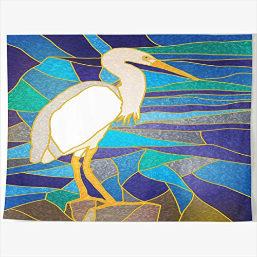 - AlliuCoo Tapestry Home Decor 60 x 50 Inches Stained Glass Bird Window White Wildlife Tapestries Wall Hangings Art for Bedroom Living Room Dorm