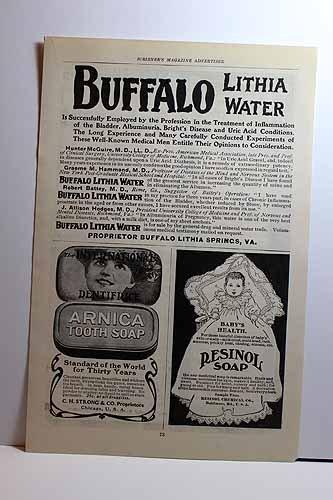 Advertisement for Buffalo Lithia Waer; Arnica Tooth Soap