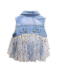 Peacolate Little Girl Single Breasted Cute Denim Vest
