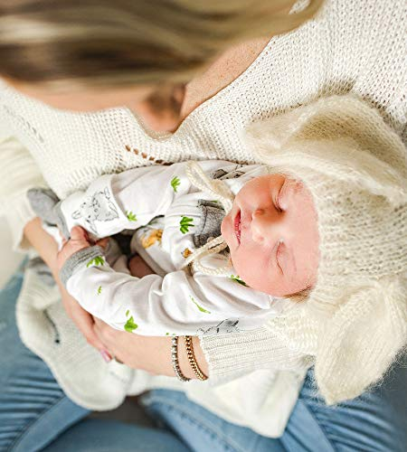 Burt's Bees Baby Unisex Baby Sleep & Play, Organic Pajamas, NB-9M One-Piece Zip Up Footed PJ Jumpsuit, Bunny Trail, Newborn