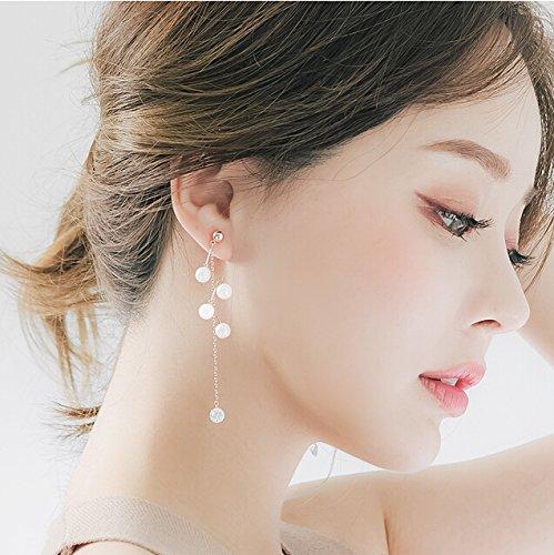 - South Korean hair jewelry pearl diamond earrings zircon long section of chain tassel earrings temperament lady Business