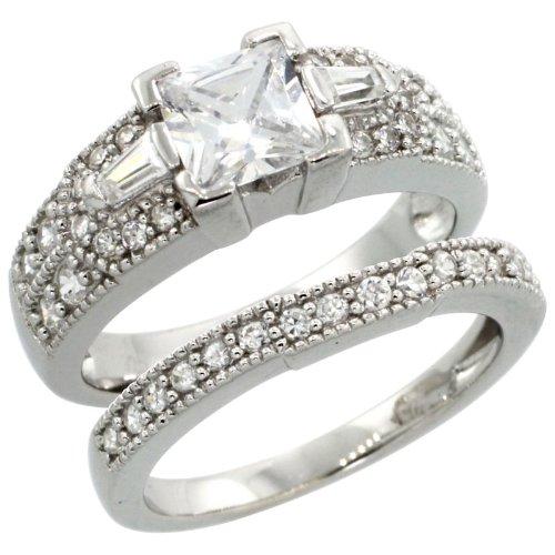 Sterling Silver Square Cubic Zirconia Engagement Ring 2 pc Set Princess 1 ¼ ct Baguette Sides, size 6 ()