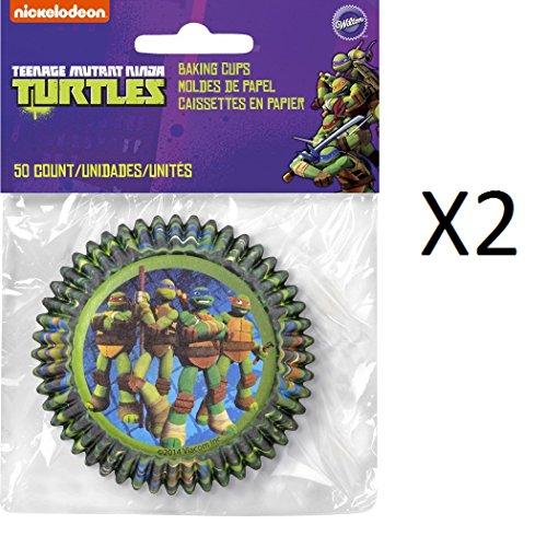 """Wilton Standard BAKING CUPS Teenage Mutant Ninja Turtles 50 Cups 2"""" (2-Pack)"""