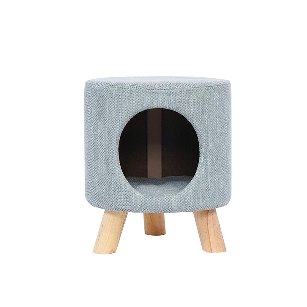 Denim bluee LITING Cat Nest House Villa Semi-closed Into A Young Cat Nest Teddy Dog Kennel Stool Nest Pet Supplies (color   Denim bluee)