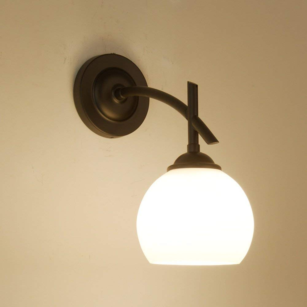 Circular Iron Art Wandleuchte Wandleuchte Wandleuchtesimple Creativity Schlafgemach Nachttischdekoration Leuchte 15  25  26Cm Weiß [Energieeffizienz a +], BOSSLV