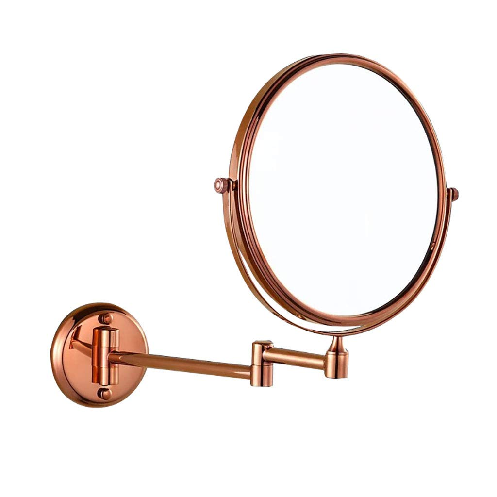 HHAOH Bad Makeup Spiegel für die Wand - 1x   3X Magnifying Double Sided Spiegel, Two-Sided Swivel Schminkspiegel, Rasierspiegel, Kupfer,Rose Gold_8inch