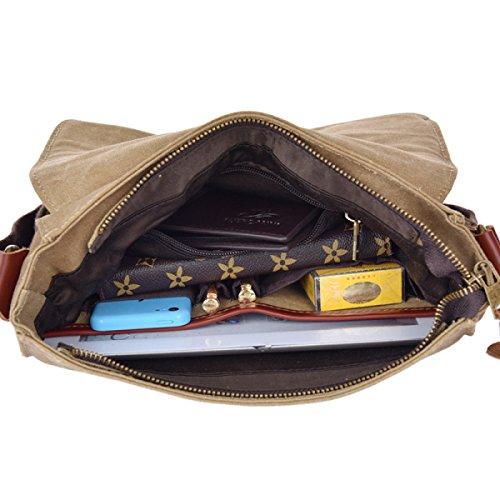 Bolsa De Trabajo De La Lona Del Hombro Del Mensajero Del Bolso De La Taleguilla Bookbag Escuela Para Hombres Y Mujeres De Brown,A-27cm*28cm*8cm