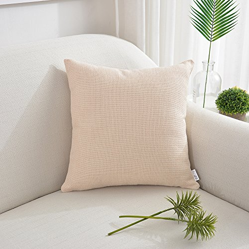 (NATUS WEAVER 2 Tones Woven Throw Pillow Cushion Cover Soft Faux Linen Home Decorative Hand Made Pillowcase for Travel Use, 18
