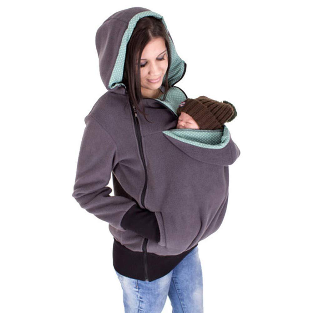 Gsaknc Felpe del Portare Cappuccio di maternit/à,Donne Inverno Canguro Porta Beb/è con Cappuccio Multifunzionale Staccabile Felpa