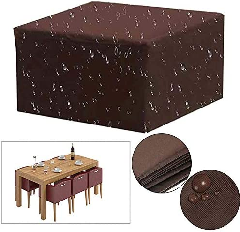 FOONEE Garden Furniture Covers, Square Patio Furniture Covers with Drawstring for Outdoor Patio Table and Chairs, Anti-Water,Wind,Dust, Snow UV, Suitable for All Year Round, Brown,213x132x70cm