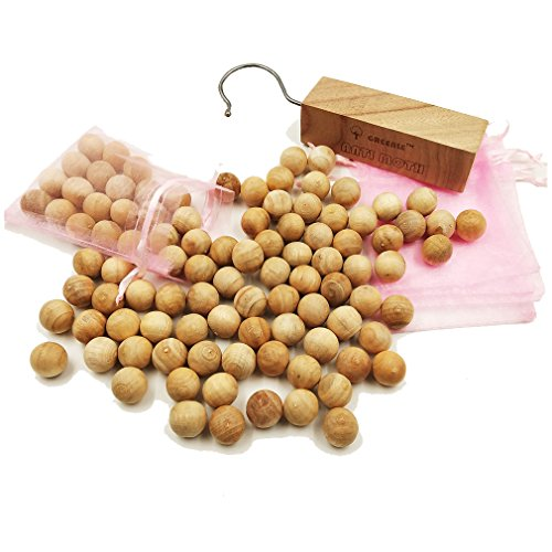 GREENLE Moth Balls Repellent for Closets Storage Anti Moth with Natural Camphor Wood Root Balls and Hanger Blocks Moth Protection for Freshener Clothes Drawer Household Essential Pack 80pieces
