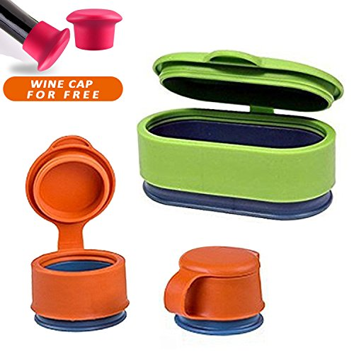 Bag Cap - ROMMEKA Multifunctional Set of 3 Plastic Reusable Food Storage Sealing Magic Clips, Bag Preserver Screw Cap for Food, Meat, Snack Fresh, Food Saver Cap, Clamp Sealer - Bag Cap