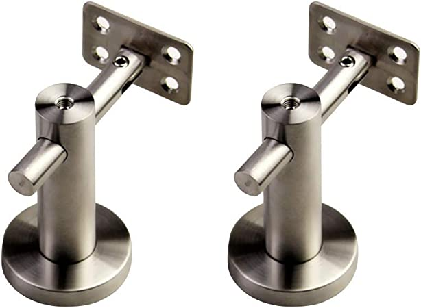 DIY Brushed Stainless Steel Mounts Hardware for Staircase Rail Railing Color : 6 Pack, Size : Flat MOCHENG Adjustable Handrail Bracket Wall Mounted
