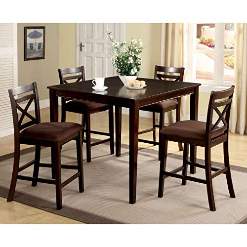 JaxTerrific Elegant 5-Piece Counter Height Table Set, Classic X-Shaped Chair Backs, Sturdy Wood and Veneers Construction, Fabric Upholstered Seats, Rich Espresso Finish ()