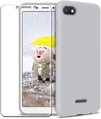 Rosa Claro Protector de Pantalla de Vidrio Templado MICASE Funda Xiaomi Redmi 6A Carcasa Ultra Fino Suave Flexible Silicona Colores del Caramelo Protectora Caso Anti-rasgu/ños Back Case