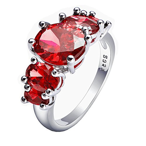(WIBERN 14K Platinum Plated 5 Red Stone Wedding Engagement Promise Charm Ring for Women (Red, 8))