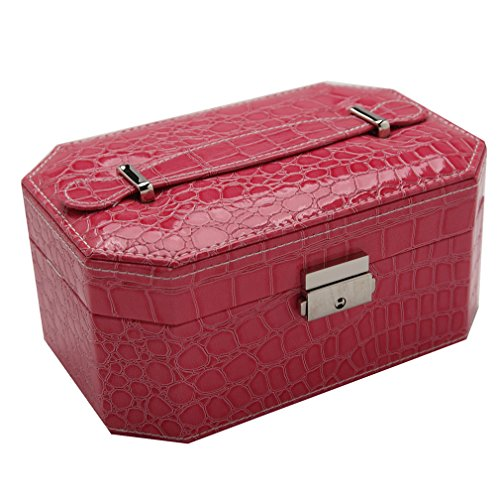 KUKI SHOP Synthetic Leather 2-Layer Large Capacity Portable Jewelry Storage Organizer Box Case with Lock and Mirror for Necklace Earrings Bracelets Hairpieces Rings Watches Brooches (Rose)