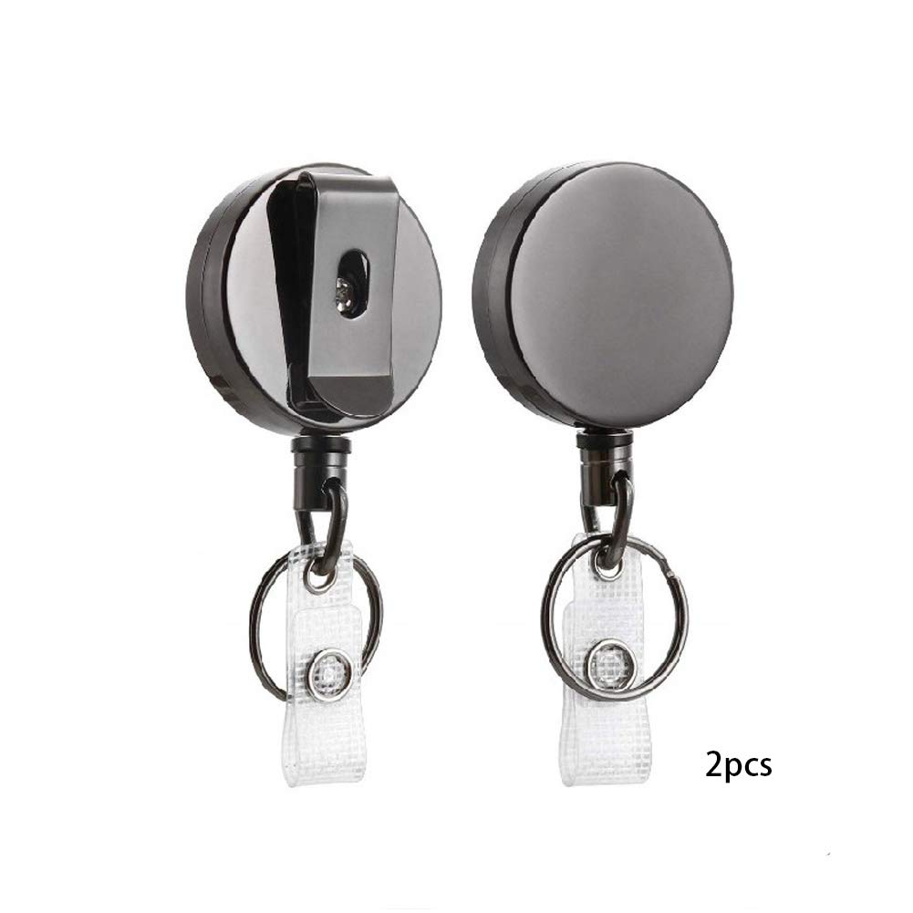 2pcs Durable Retractable Keychain Recoil Cord Key Ring Pull Reel Belt Clip