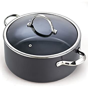 Cooks Standard 02490 Lid 7 Quart Hard Anodized Nonstick Dutch Oven Casserole Stockpot, 7-Qt, Black