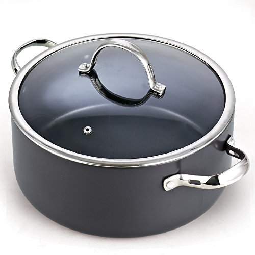 - Cooks Standard 02490 Lid 7 Quart Hard Anodized Nonstick Dutch Oven Casserole Stockpot 7-Qt Black