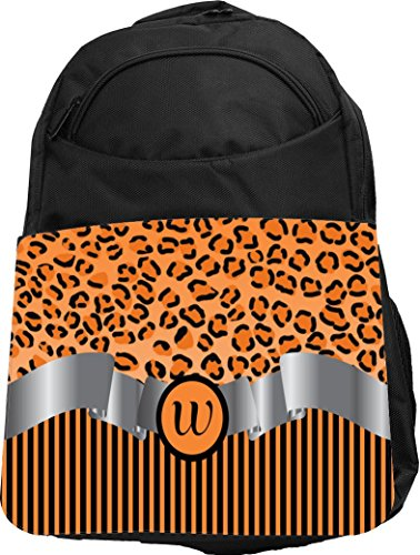 "Rikki Knight UKBK Letter ""W"" Orange Leopard Print Stripes..."