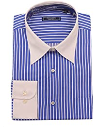 Classic Fit Blue White Striped Combed Cotton Contrast Collar Dress Shirt