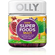 OLLY Kids Super Foods Multivitamin Gummy Supplement, with 10 super foods including Elderberry, Acai, Tamarind; Go Go Grape; 60 count (30 day supply)