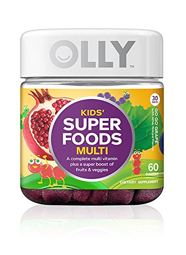 OLLY Kids Super Foods Multi-Vitamin Gummy Supplements, Go Go Grape, 60 Count
