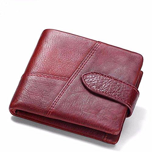 leather purse short square money Wallet gules Men's cross splice the LIGYM wSqE5AX5x
