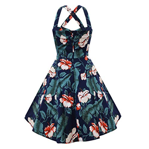 (Women's Vintage Floral Print Dress Puffy Cocktail Dresses Back Cross Slice Party Gown Prom Wear(Navy, M))