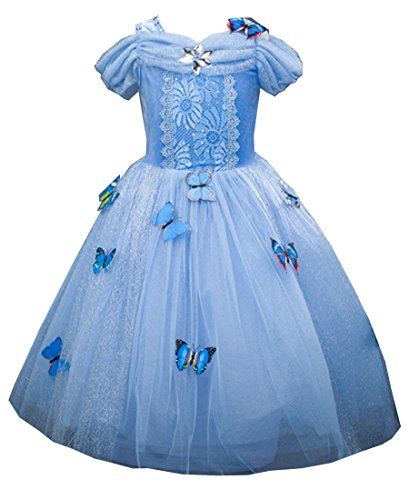 Girls Princess Dress up Costume Blue Butterfly Party Dresses for Halloween Christmas 3-4 years Old by SANNYHHOOT