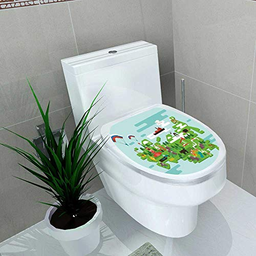 Toilet Seat Wall Stickers Paper Travel Concept Russia National Symbols National Costumes Famous Attraction The Country Decals DIY Decoration W13 x -