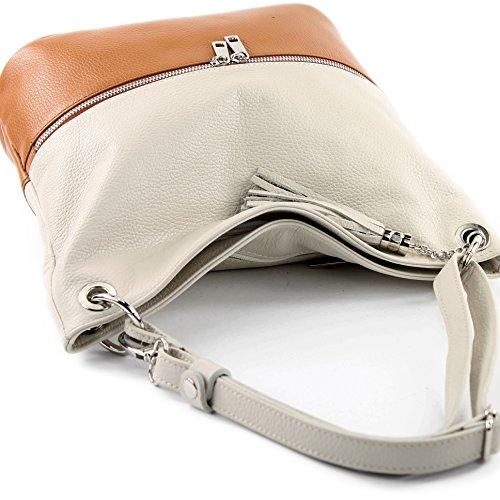 del de cuero del Camel ital de de bolso bolso modamoda hombro bolso bolso T143 de Creme señoras de cuero del 0dzBaw