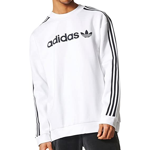 adidas Originals Mens Linear Crew Trefoil Sweatshirt White